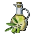 olive oil with olives vector image vector image