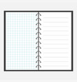 open notebook with spiral and blank line cell vector image