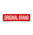 original brand red 3d square button isolated on vector image vector image