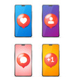 realistic detailed 3d mobile phone set with social vector image vector image