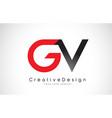 red and black gv g v letter logo design creative vector image vector image