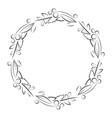 round frame with leaves and berries outline vector image vector image