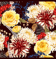 seamless pattern with autumn flowers vector image vector image