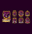 set aggressive bear emblems sports logo bear vector image vector image