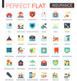 set flat insurance icons vector image