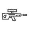 sniper rifle line icon weapon and military gun vector image