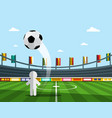 soccer player on championship with ball on stadium vector image vector image