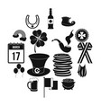 st patrick day black simple icons vector image vector image