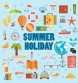 summer holiday flat icons with lettering vector image vector image