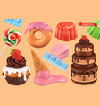 sweet set 3d realistic objects cupcake cake vector image