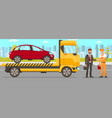 tow truck and driver services vector image
