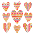 tribal hearts set aztec vintage folklore vector image