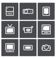 TV and video equipment icon set vector image vector image