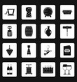 wine icons set squares vector image vector image