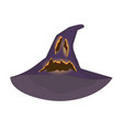 witchs hat with an orange ghost face cut vector image