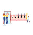 woman admire her shag in mirror tiny doctor vector image