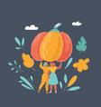 women with big pumpkin on dark vector image vector image