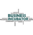 word cloud - business incubator vector image vector image