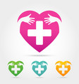 heart with cross sign icon vector image
