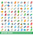 100 b2b icons set isometric 3d style vector image