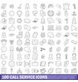 100 call service icons set outline style vector image vector image
