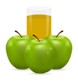 apple and glass of juice vector image vector image