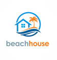 beach house travel logo vector image vector image