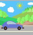 blue car on a road on a sunny day vector image vector image