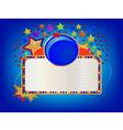 Blue circle with white board and stars vector image vector image