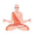 buddhist monk in saffron robe sitting in padmasana vector image vector image