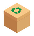 cardboard box with green recycle symbol isolated vector image
