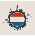 Cargo port relative silhouettes Netherlands flag vector image vector image