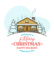 christmas greeting card with cozy house vector image vector image