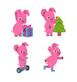 christmas set of cute little pigs with a gift vector image
