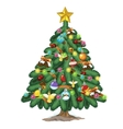 christmas tree with toys and gold star on top vector image vector image