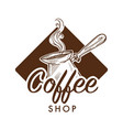 coffee shop turk with steam isolated monochrome vector image