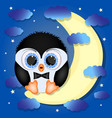 cute penguin sitting on moon vector image vector image