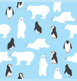 cute polar bears with penguins saemless pattern vector image vector image