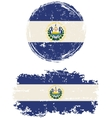 El Salvador round and square grunge flags vector image vector image