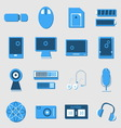 Electronic device color icons on light background vector image
