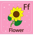 English letters F and flower vector image