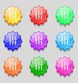 Equalizer icon sign symbol on nine wavy colourful vector image