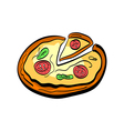 flat doodle pizza vector image vector image