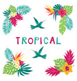 floral paradise hand drawn summer tropical corner vector image vector image