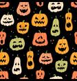 halloween pumpkin seamless pattern hand drawn vector image vector image