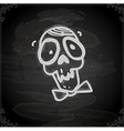 Hand Drawn Skull with a Bowtie vector image
