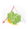isometric icon pile of cash red recession graph vector image vector image