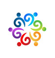 logo teamwork wave swirly people holding hands vector image vector image