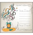 Meditating girl with background vector image vector image