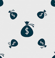 Money bag icon sign Seamless pattern with vector image vector image